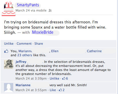 This is an actual Facebook status update from a member of Team Bridal. Names covered to protect the innocent. :-)