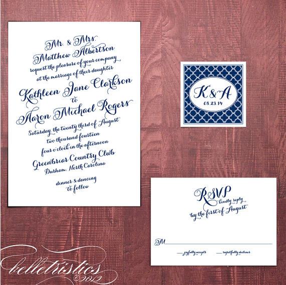 Calligraphy Script DIY Invite Quatrefoil by belletristics on Etsy